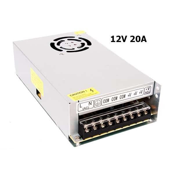 منبع تغذیه 12 ولت 20 آمپر فن دار مدل T-A250-12